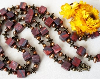 Red Jasper Natural Gemstone Necklace, Multi Gemstone Necklace, Handmade Jewelry, Beaded Necklace, Statement Necklace, Unique Gift For Her