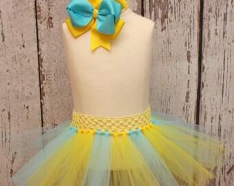 Baby Girl Tutu Set , Toddler Tutu , Flounder Hair Bow Headband, Turquoise Yellow Little Mermaid Inspired HALLOWEEN costume Photo Prop