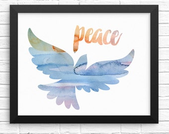 Peace Dove Multicolored Watercolor Faith Based Inspirational Quote 10x8 Printable Digital Download