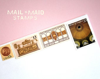 Gold & Blush || Set of unused vintage postage stamps to mail 5 2 oz or square letters