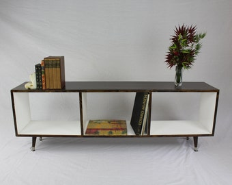 Mid Century Modern Record Cabinet/Bookshelf with 3 Cubbies/two tone