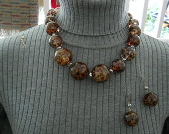 Cold Water Creek Vintage Amber Style  Necklace Earring Set #725
