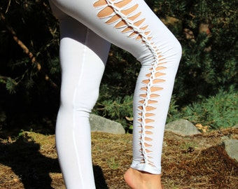 Long white leggings, cutting and braiding calfs and thighs, Bohemian style