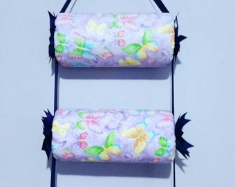 head band holder or headband organizer purple butterflies , triple - 3 tiers holder