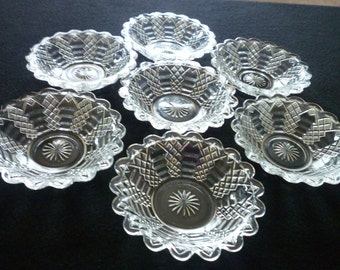 """7 EAPG Jacob's Ladder 4 1/2"""" Sauce Dishes 1870's"""