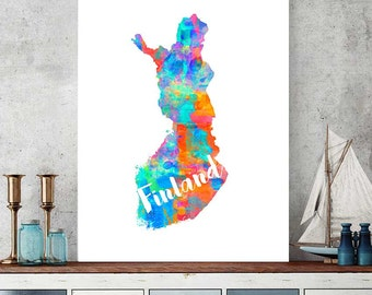 Finland Map, Finland Printable Map, Finland Gift, Wall Art Decor, Watercolor Print, Instant Download, Scandinavian Map