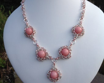 Handmade Chainmaille, One Of A Kind, Statement Necklace With Baby Pink Dyed Quartz Beads