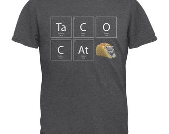 Taco Cat Periodic Table Dark Heather Adult T-Shirt
