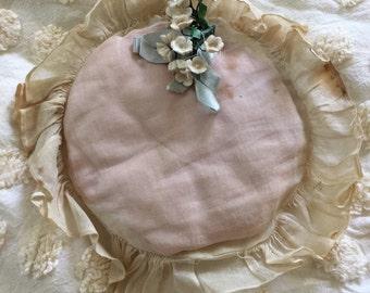 Vintage Ring Bearer Pillow-Shabby Chic Wedding-Pink Ring Bearer Pillow