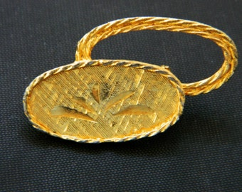 """Vintage Mamselle Brooch Double Circle Coat Sweater Pin Gold Tone Signed 1.25"""""""