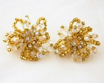 Vintage Beaded Earrings, Beaded Earrings, Cluster Earrings, Post, Gold, Pierced Ears, Beaded