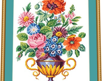 Floral bouquet in the vase- BERLIN WOOLWORK embroidery pattern, cross stitch, needlepoint tapestry pattern - PDF, instant download