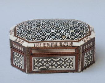 Mother of Pearl Octagonal Jewelry Box
