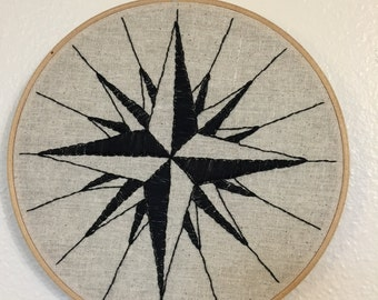 """Compass Rose 8"""" Embroidery Hoop"""