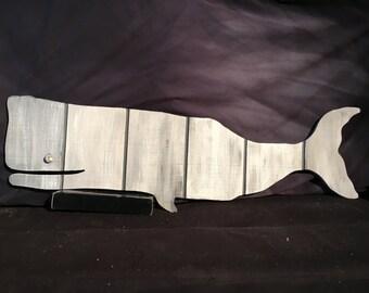 Grey Striped Whale Wood Cutout