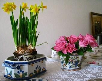 Nevers- style earthenware  flower planter