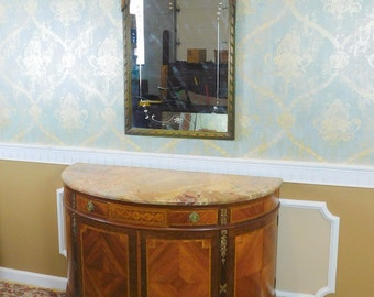 1920s French Inlaid Satinwood & Walnut Demilune Marble Top Commode w/ Mirror