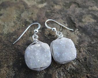 Greyish White Square DRUZY Wire Wrapped Earrings (Sterling Silver)