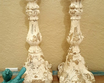 shabby chic candle holders, large shabby chic candle stick, set of two, almost 2 ft tall