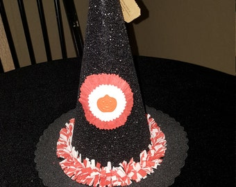 vintage glittered halloween witch hat candy box
