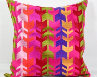 "Arrow pillow cover geometric 26""pillow 20x20 multi color throw pillow 16x16 pillow cover 18x18 purple red outdoor pillow 24x24 pillow covers"