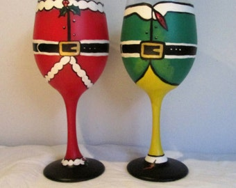 Hand-Painted Santa and Elf Inspired Wine Glasses, set of 2