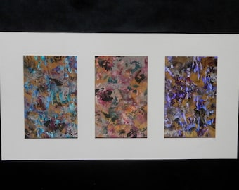 Original Abstract, Triptych Painting, Modern Wall Art