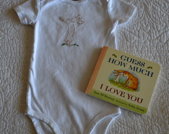 Hand Embroidered Guess How Much I Love You Bodysuit/Onesie