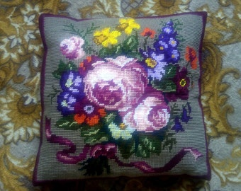Decorative Pillow, Custom pillow cover, Embroidered Pillow, Cross Stitch Pillow, flowers