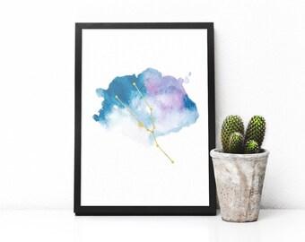 Printable Taurus constellation artwork, Zodiac Taurus print, Blue watercolor art and gold, Taurus star sign, Astrology art