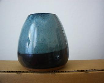 Black and blue ceramic vessel - beautiful handmade clay pottery