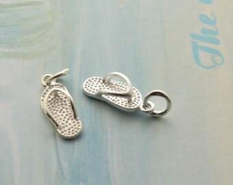2 pcs sterling silver flipflop charm flip flop pendant