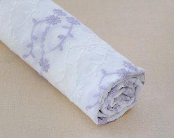 Purple Floral Cotton Gauze Fabric ZJC123