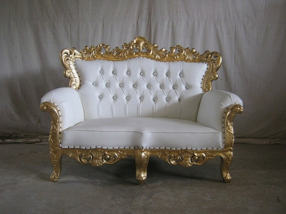 Venice BRAND NEW 3 Piece Gold & White French style Ornate Sofa Chaise Set