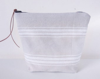 Striped Woven Cotton Zipped Purse, Cosmetic Bag/Organiser, Sandy white