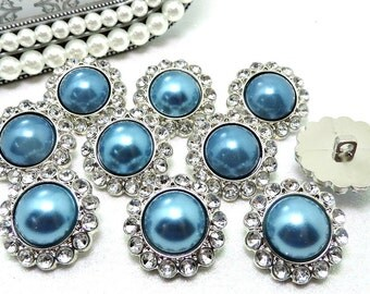 Dark Blue TURQUOISE Rhinestone Pearl Buttons Acrylic W/ Clear Surrounding Rhinestones Wedding Bouquets Button Brooch 20mm 3185 59P 2R