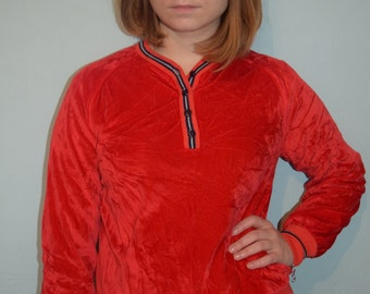 vintage 70s red velour butte knit top
