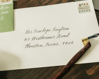 Traditional Copperplate Calligraphy Custom Addressing Wedding Invitation Envelopes Classic Style Invite Art Deco