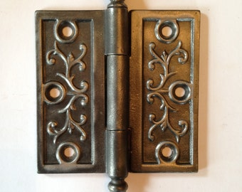 """Antique Cast Iron Steeple Tip Door Hinge 4"""" x 4"""""""