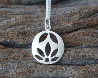 Sterling silver lotus necklace, 15mm, Flower necklace, Birthday Gift, Mother's Gift