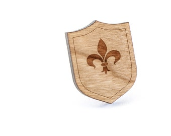 Fleur De Lis Lapel Pin, Wooden Pin, Wooden Lapel, Gift For Him or Her, Wedding Gifts, Groomsman Gifts, and Personalized