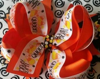 Halloween candy corn Queen boutique hair bow