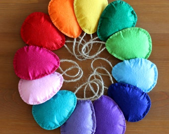 Easter Felt Eggs Child Safe Set of 12  - Ready to ship - Easter decoration - Colorful easter eggs - Rainbow felt eggs - Easter garland