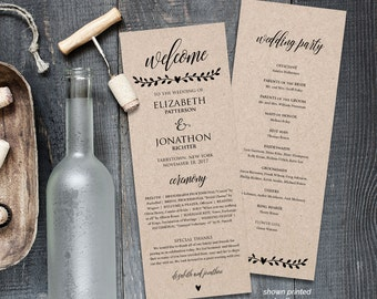 Printable Wedding Program Template,  Order of Service, Rustic Wedding Ceremony Program, Instant Download, Editable Text, PDF File #202WP