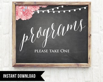 50% Off, Program Sign Printable, Wedding Program, INSTANT DOWNLOAD, Printable Signage, Digital PDF, Diy, Rustic Chalkboard Floral, Digital