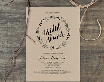 Bridal Shower Invitation Template, Rustic Boho Wreath Kraft, DIY Printable Wedding Invite, Instant Download, Editable PDF, Digital #108BS