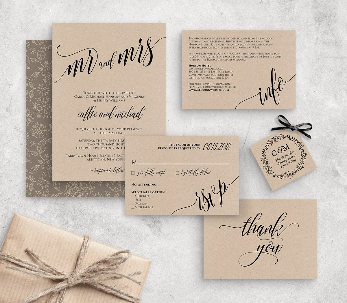 Wedding Invitation Template, Instant Download, Rustic Modern Wedding Invite Set, RSVP, Info Card