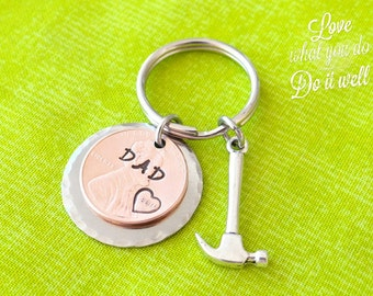 Custom Dad Penny Keychain, Dad Keychain, dad gift, fathers day, best dad, i love dad, valentines gift for dad