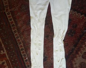 Edwardian ladies white kid leather gloves