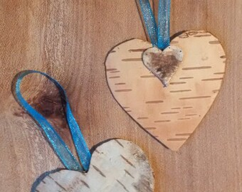 Scented Birch Bark Heart & Teal Ribbon